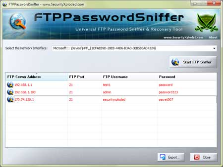 FTPPasswordSniffer showing recovered passwords