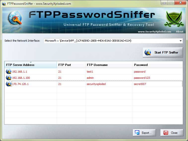 FTP Password Sniffer Screen shot