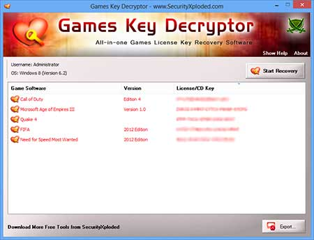 GamesKeyDecryptor showing recovered passwords