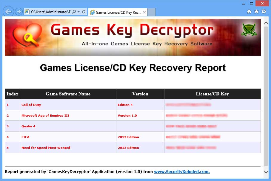 Games Key Decryptor - Free Tool to Recover License/CD Keys