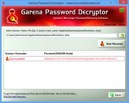 GarenaPasswordDecryptor showing recovered passwords