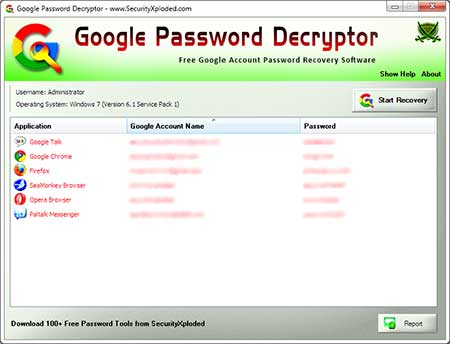 Click to view Google Password Decryptor Downloader 3.2 screenshot