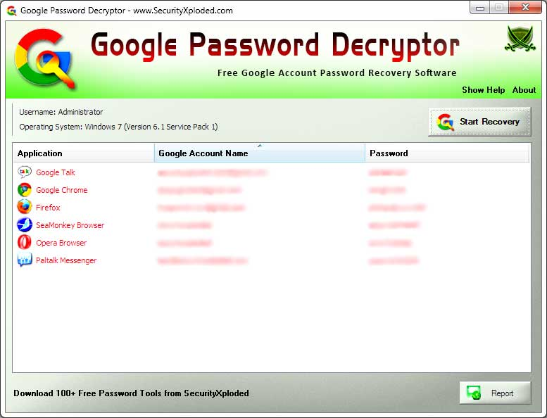Password Decryptor for Google full screenshot