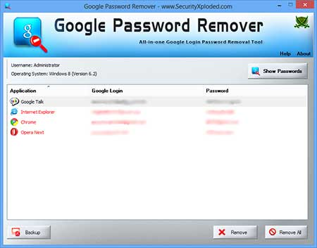 GooglePasswordRemover showing recovered passwords