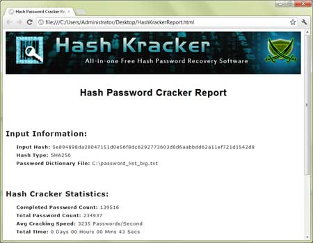 Hash Kracker : All-in-one Free Hash Password Recovery Software