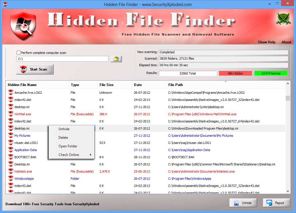 Hidden File Finder Screen shot
