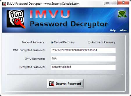 Password Decryptor for IMVU Screen shot