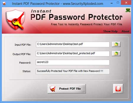 InstantPDFPasswordProtector showing recovered passwords