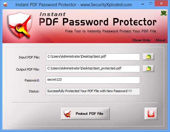Instant PDF Password Protector Screen shot