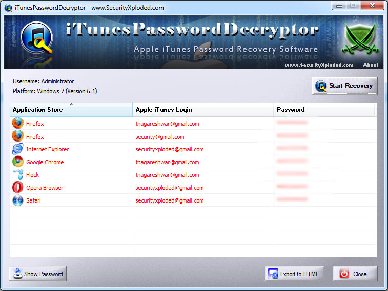 Password Decryptor for Apple iTunes Screen shot