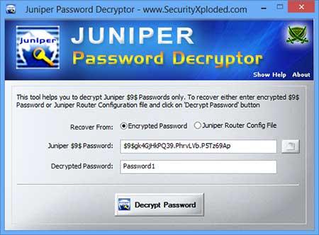 Juniper Password Decryptor : Free Desktop based Juniper