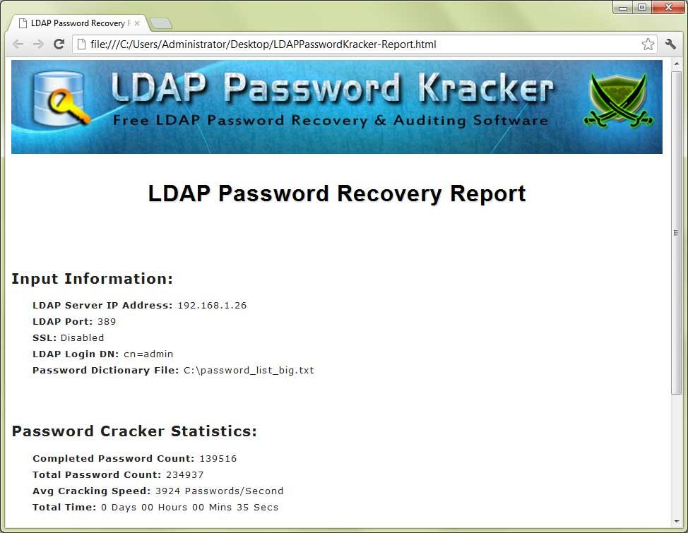 LDAP Password Kracker : Free LDAP Password Recovery & Auditing Software