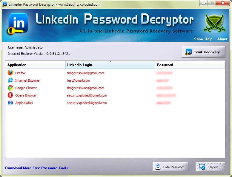 Password Decryptor for Linkedin Screen shot