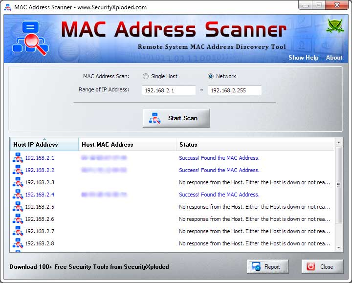 MAC Address Scanner Screen shot