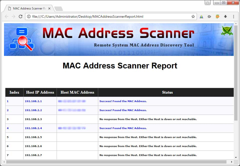 Screenshot 2 html based mac address scan report generated by