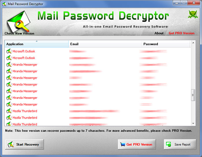 MailPasswordDecryptor showing recovered passwords