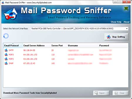 MailPasswordSniffer showing recovered passwords