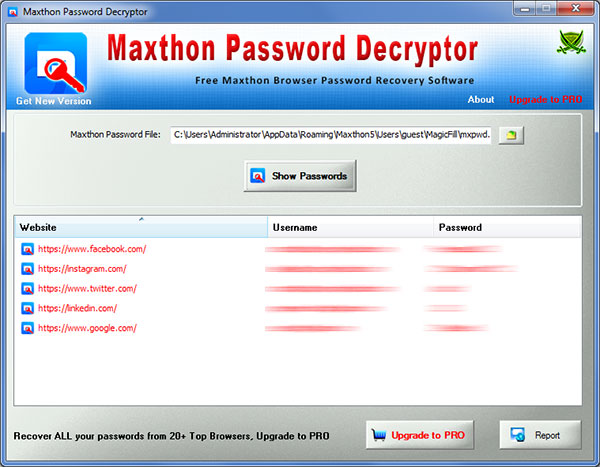 Maxthon Password Decryptor showing the saved login passwords