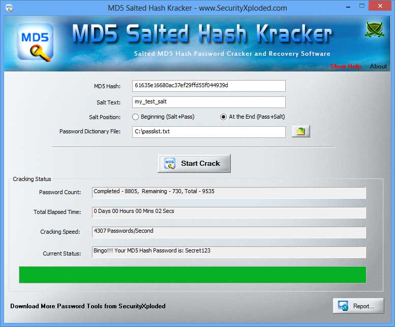 MD5 Salted Hash Kracker Screen shot