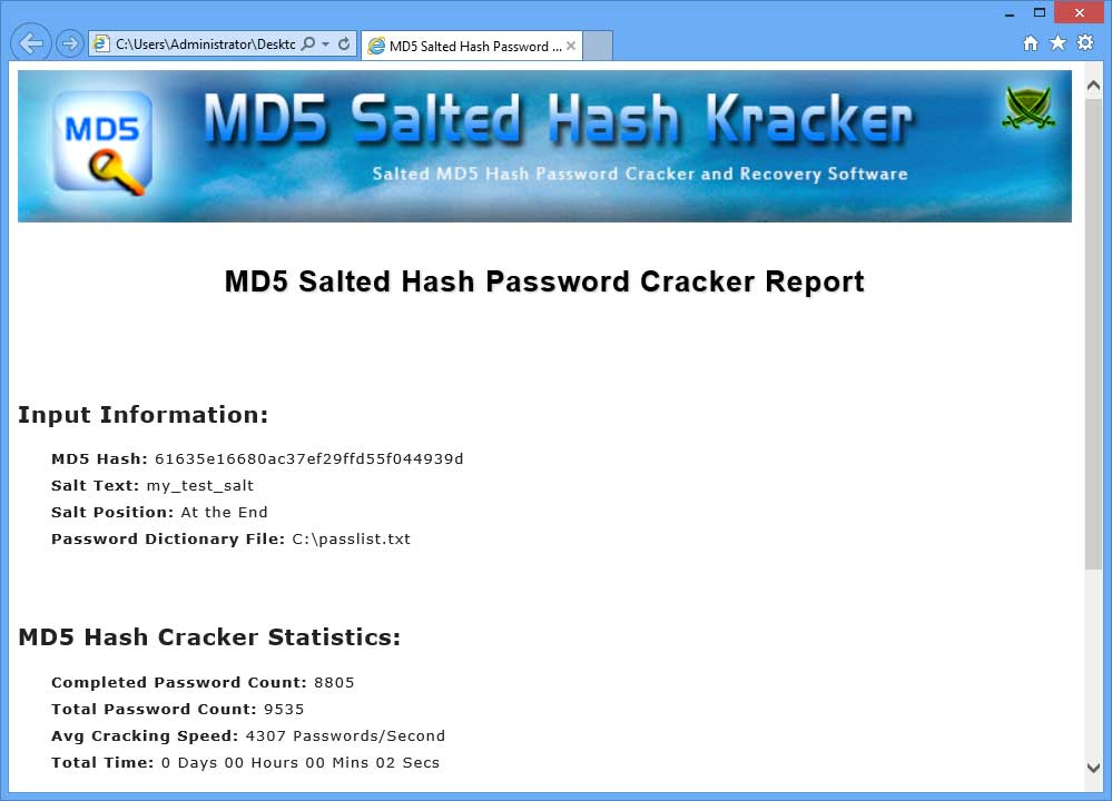 MD5 Salted Hash Kracker : Free Salted MD5 Hash Password Cracker and