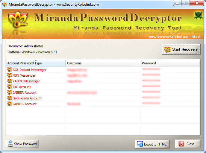 Miranda Password Decryptor Screen shot