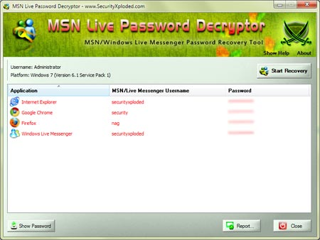 MSNLivePasswordDecryptor showing recovered passwords
