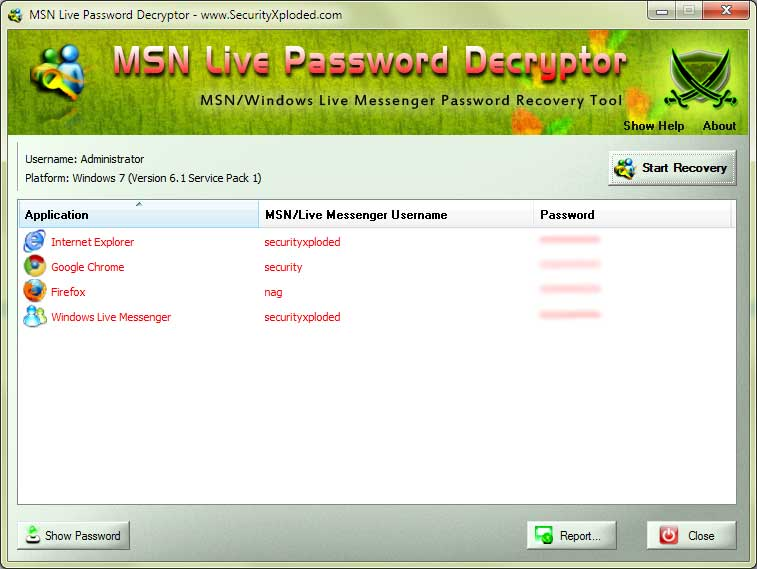 Click to view MSN Live Password Decryptor screenshots