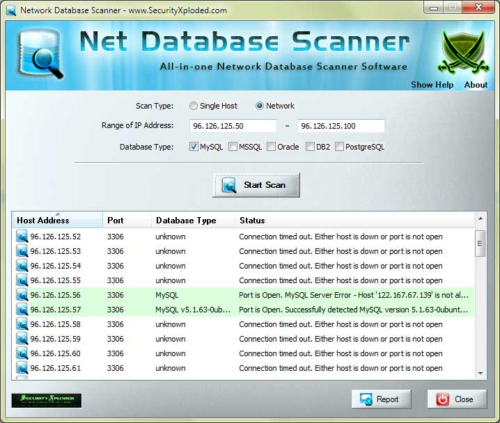 Network Database Scanner Screen shot