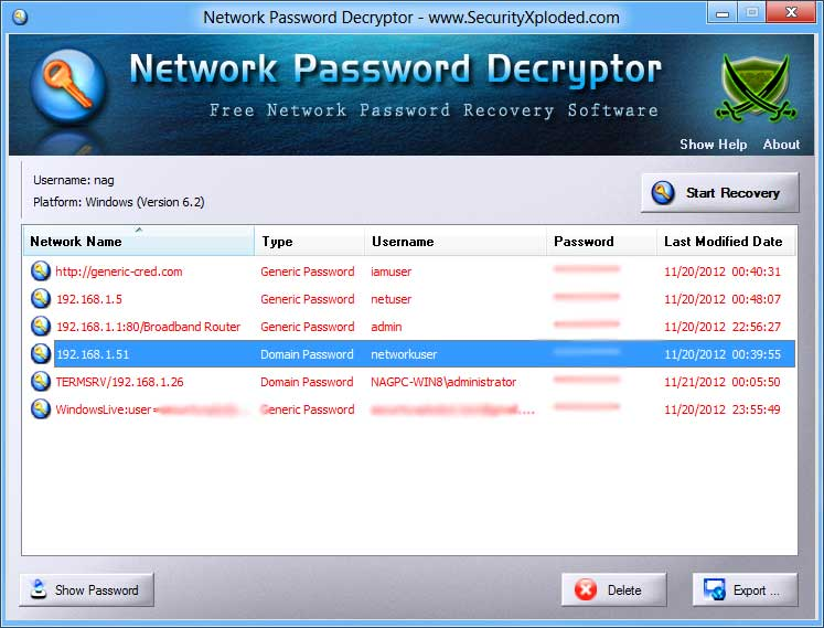 Network Password Decryptor Screen shot
