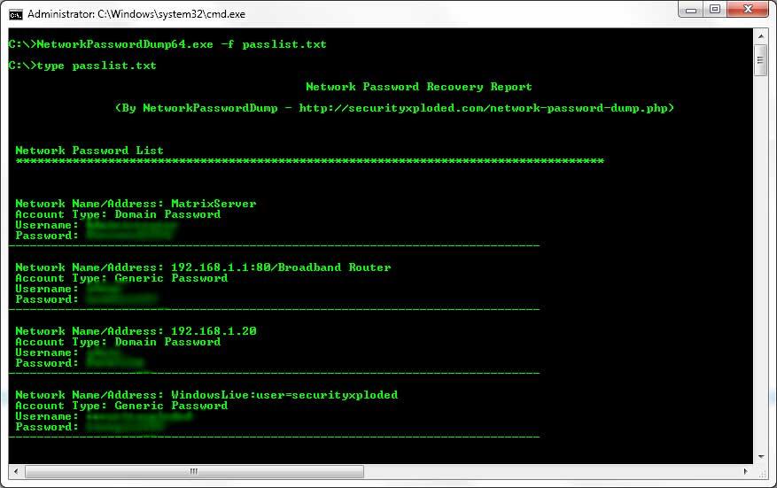 Network Password Dump : Free Command-line Tool to Dump