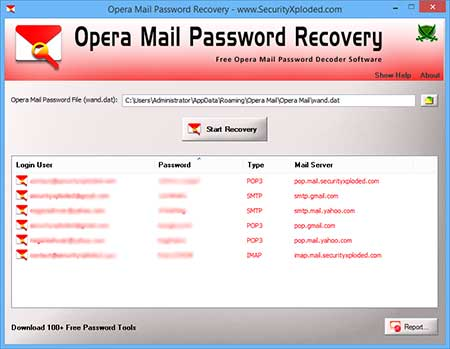 OperaMailPasswordRecovery showing recovered passwords