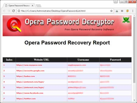 Export Opera passwords to HTML