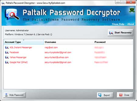 PaltalkPasswordDecryptor showing recovered passwords