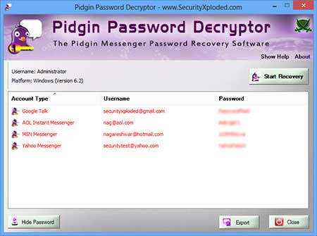 PidginPasswordDecryptor showing recovered passwords