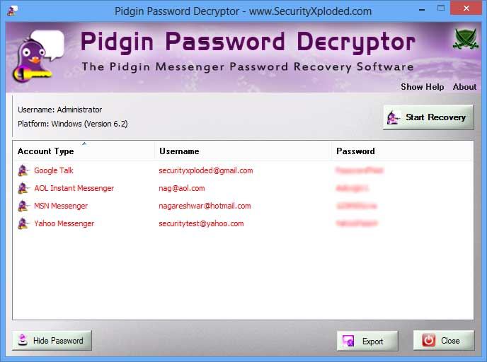 Password Decryptor for Pidgin Screen shot