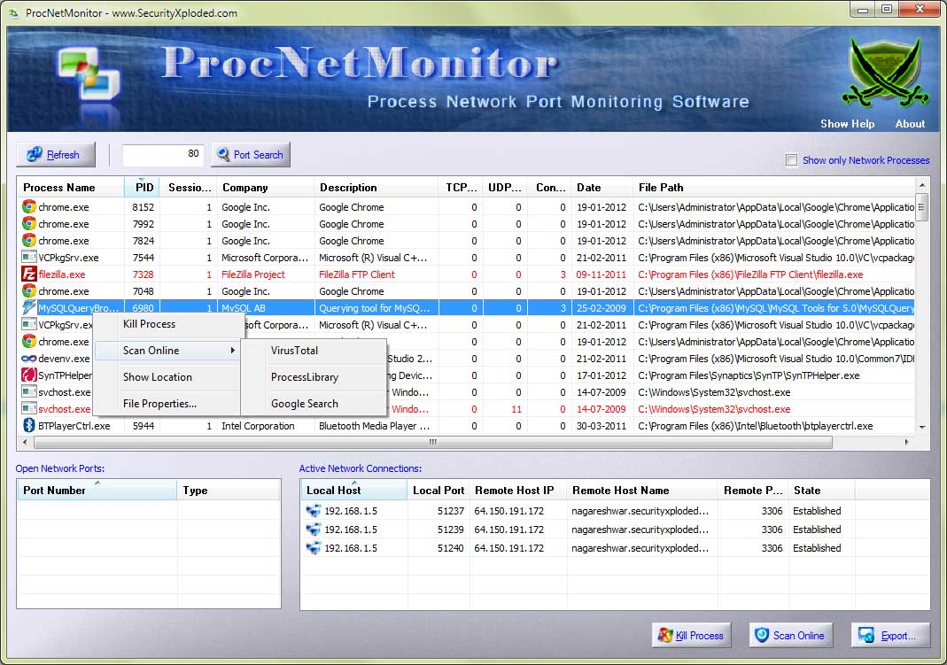 Process Network Monitor Screen shot