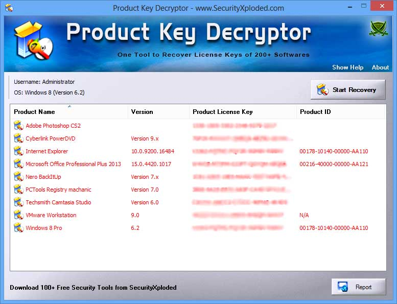 ProductKeyDecryptor showing recovered passwords