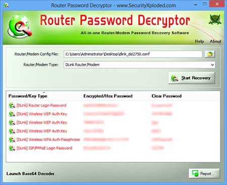 RouterPasswordDecryptor showing recovered passwords