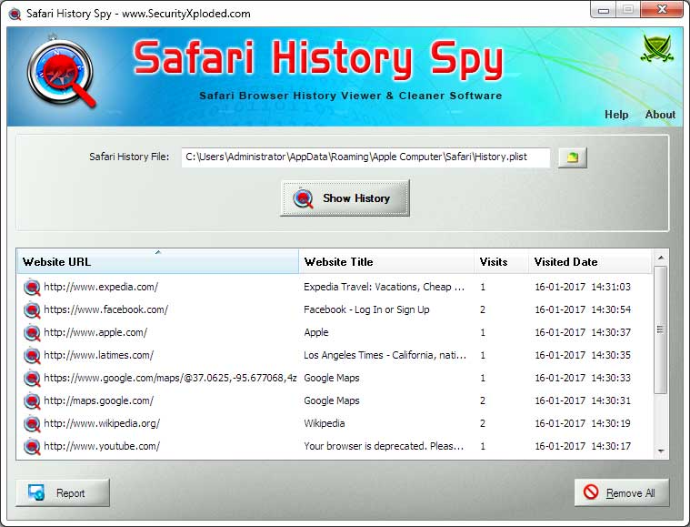 History Spy for Safari Screen shot