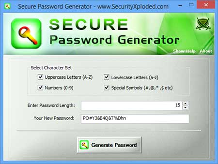 SecurePasswordGenerator Screenshot