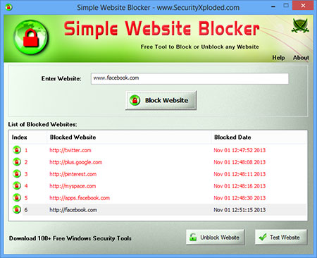 SimpleWebsiteBlocker showing recovered passwords