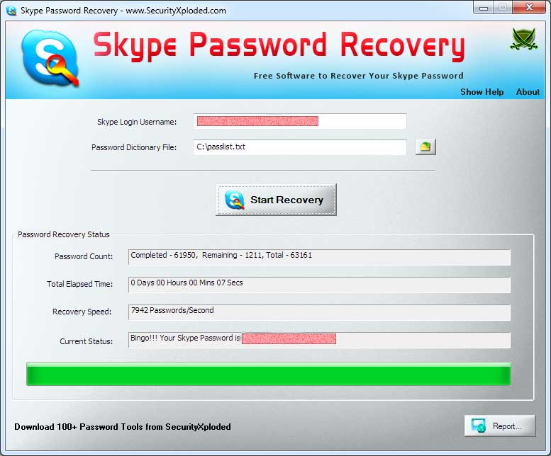 Password Recovery for Skype Screen shot