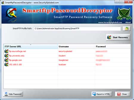 SmartFTP Password Decryptor showing recovered passwords