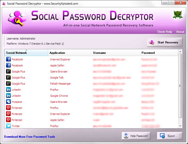 Social Password Decryptor
