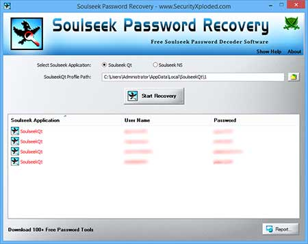 SoulseekPasswordRecovery showing recovered passwords