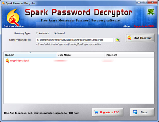 Spark Password Decryptor showing recovered passwords