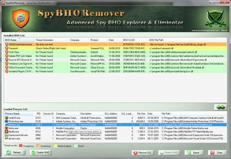 SpyBHORemover - Injected Process List