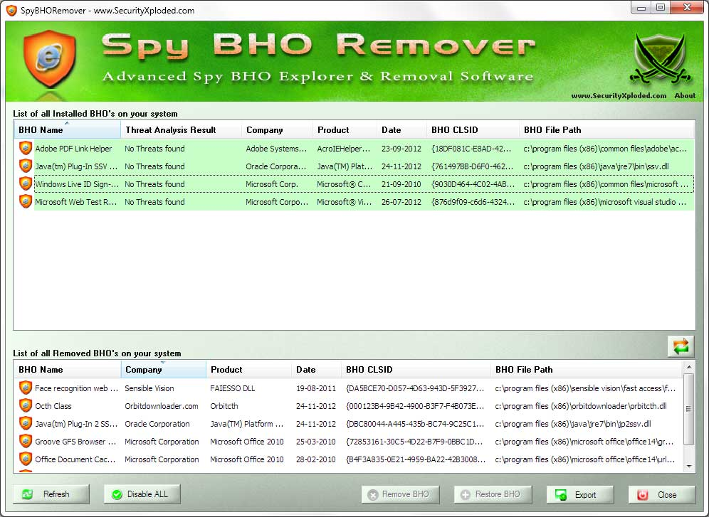 Spy BHO Remover Screen shot