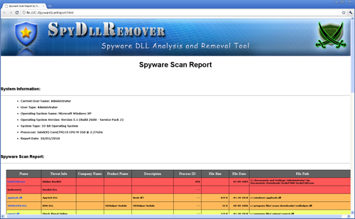 SpyDllRemover - Advanced Scanner Report