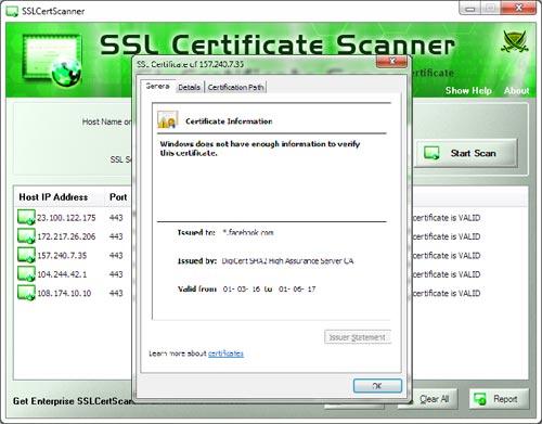 SSLCertScanner showing Certificate